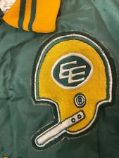 Vintage Mens XL Edmonton Eskimos Satin Jacket Green CFL