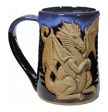 "Mugs - ""Ferocious Dragon"" Handmade Pottery Mug - Blue On Black - 3D Tankard"