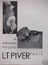 PUBLICITÉ 1930 L.T.PIVER LA NOUVELLE POUDRE BOITE MÉTAL LAQUÉ - ADVERTISING