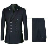 New Men's Double Breasted Coat&pants Suits Button Lapel Formal Business Slim Fit