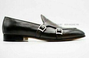 Mocassins et chaussures à enfiler en cuir véritable marron double moine pour