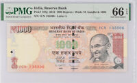 India 1000 Rupees 2013 P 107 g Gem UNC PMG 66 EPQ Top Pop