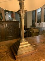 Antique English Brass Corinthian/Ionic Column Table Lamp, Edwardian, Rewired