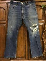 Levi's 517's jeans Bootcut Straight leg Distressed Faded Hippie Boho Denim 34x30