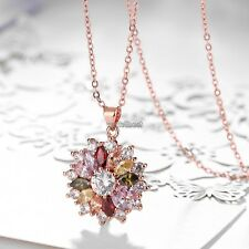 New Style Cubic Zirconia Rose Gold Plated Women Pendant Necklaces Jewelry