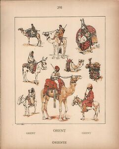 Asia and Africa - Camel and Ass Riders - 1925 Costume Plate