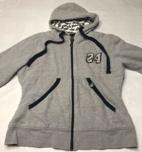Women's Chase Authentics Jeff Gordon #24 Gray Full Zip Hoodie Sweatshirt Small