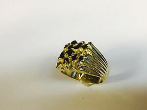 18kt Solid Yellow Gold Mens Nugget Design Fashion Ring 12 grams