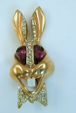 Karu Fifth Avenue Rabbit Pin Brooch pink eyes white teeth
