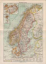 Landkarte map 1910: SKANDINAVIEN. Maßstab: 1 : 7.000 000 DÄNEMARK. Island Faröer