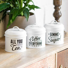 White Enamel Pun & Games Tea Coffee Sugar Canisters Storage Jars Containers