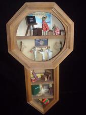 Schoolhouse Clock Wood Shadow Box~Miniature Display~Mice~Classrooms~Gym~Books