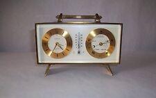 Vintage Semca 8 Day 7 Jewel Brass Alarm Clock Thermometer Barometer Works!