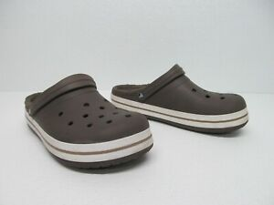 Crocs Classic Brown Lined Clogs Faux Fur Lining Size Men's 12