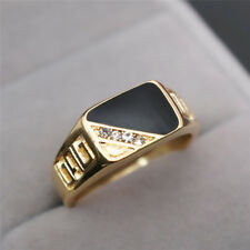 Fashion Classic 18K Gold White Sapphire Black Enamel Agate Rings Men's Jewelry