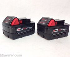 Two Milwaukee M18 48-11-1828 New 18V Red Lithium Batteries XC 3.0Ah