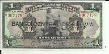 BOLIVIA 1 BOLIVIANO 1911  P 112.  XF CONDITION