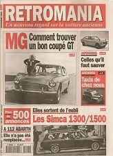 RETROMANIA 7 SIMCA 1300 1500 AUTOBIANCHI A112 ABARTH McLAREN 1964 1994 MGB GT