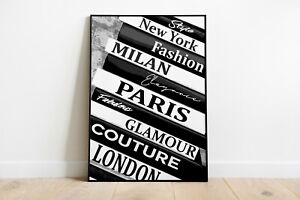 Book Stack Fashion Print Poster Wall Art Classic Decor Couture Art Black-150A