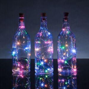 RAINBOW CORK STRING LIGHTS Multicolour Bright Fairy Battery Party Wedding Bottle