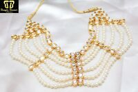 Indian White Pearl Kundan Wedding Necklace Set Bollywood Bridal Ethnic Jewellery