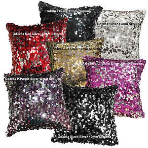 Gd 7 Colours 12mm Sequins w/ Velvet Back Cushion Cover/Pillow Case *Custom Size*