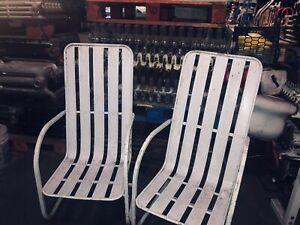 RARE VINTAGE SLAT PATIO SPRING LOUNGE CHAIRS- Garden Porch Furniture