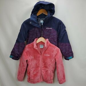 Columbia Girls Omni Tech Heat Interchange 3 1 Jacket Coat Small Purple Hood Zip