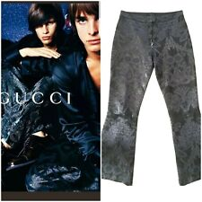 Gucci Tom Ford Iconic Woman's Runway 00 Runway  Leather Embroided Trousers Sz 42