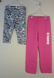 2 Pair of NEW Kids Girls Small 6 - Zebra capri length pants & Pink Sweatpants