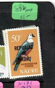 NAURU (PP2106B) BIRD  50C OVPT REPUBLIC NAURU    SG 92   MNH