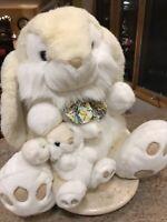 Vintage Chosun Jumbo Easter Bunny Rabbit Plush Mom and Baby Stuffed Animal 1992