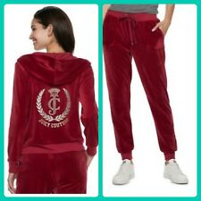 New Women's Juicy Couture Tracksuit Red Velour Hoodie Pants Small 2pc Gym Set