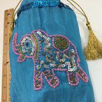 Beaded Elephant Trunk Up Gold Tassel Blue Barrel Handbag USE OR DISPLAY FOR LUCK