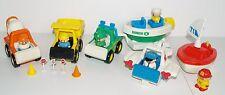 Vintage 1987 Tonka Toy Cars Plane Ranger Construction Vehicles Boat 6 Figures