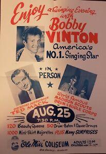 VINTAGE POSTER~~1960s Bobby Vinton Concert Bill Ft. Ted Mack Ole Miss Coliseum~~