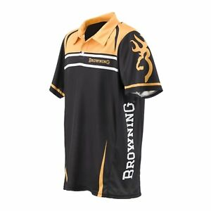 Mens NWT Team Browning Shooting Polo Black Gold Athletic Fit Shirt Size S