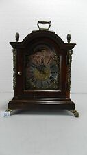 DUTCH WARMINK WALNUT TABLE CLOCK DOUBLE BELL CHIME MARKED TEMPUS FUGIT