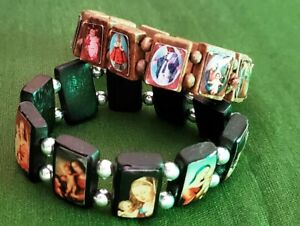 Very Nice Pair of Religious Stretch Bracelets