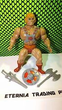 HE-MAN 100% Complete 1981 orig Vtg MOTU figure Armor Ax Sword Weapon Shield lot