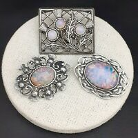 3X Vintage Milky Pink Glass Fire Opal Scottish Thistle Celtic Pewter Brooches