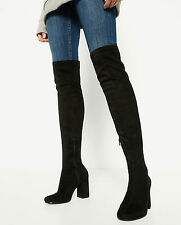 ZARA BLACK FAUX SUEDE OVER THE KNEE HEEL BOOTS SIZE UK 4 37