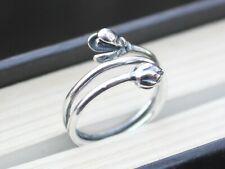 Verstellbar 925 Sterling Silber Blume und Flower Bud Wrap Ring Geschenk für Sie
