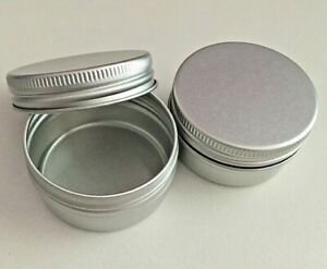 Small Silver Round Aluminium Pill / Vitamin Pot Jar Tin Container FAST UK Seller