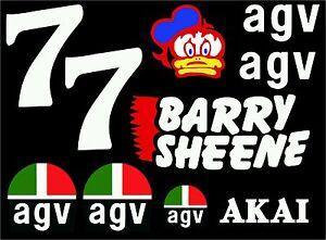 Barry Sheene Helmet Stickers Kit Name Stripe LARGE Full Size Helmet TT Motogp