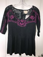 Vanessa Virginia Anthropologie Navy Pink Embroidered Lace Tunic Top XS Shirt