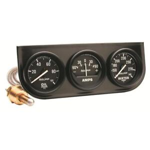 "Auto Meter Gauge Set 2393; Auto Gage Water/Amps/Oil, Black Panel 2 1/16"""