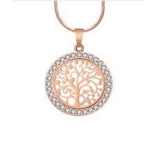 Collar y colgante Arbol de la Vida con cristales color oro rosado regalo mujeres