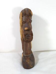 Fertility Tribal Hand Carved Two Tone Wood Dreadlock Man Sculpture Statue Bust