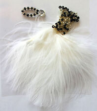 White Beaded Feather Dress Self Adhesive Stick On Topper Embellishment For Cards